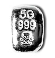 5 Gram .999 Fine Silver Bar - Skull & Cross Bones