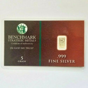 5 Grain .999 Fine Silver Bullion Bar - In COA Card