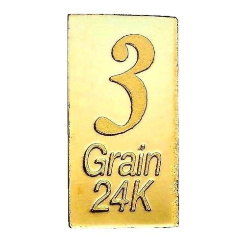 3 Grain .9999 Fine 24k Gold Bullion Bar
