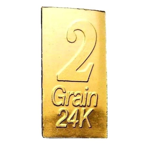 2 Grain .9999 Fine 24k Gold Bullion Bar