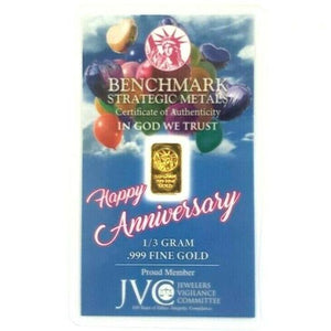 Happy Anniversary! - 1/3 Gram .999 Fine 24k Gold Bullion Bar - In COA Card