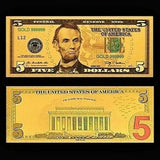 $5 Gold Foiled Novelty Federal Reserve Note