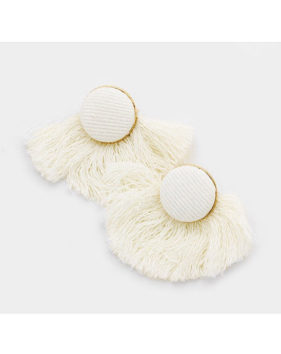 White Fringe Earrings