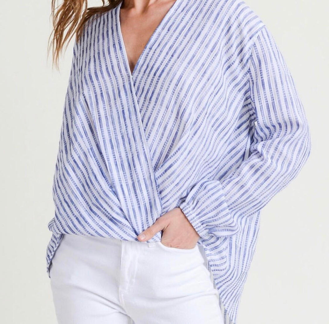 Blue and White Stripe Wrap Top