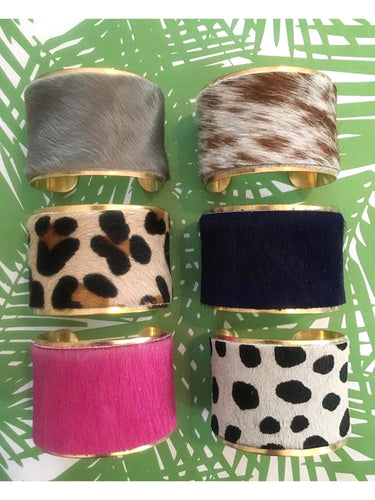 Hide and Brass Cuff Bracelets