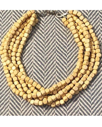 Natural Wood Statement Necklace