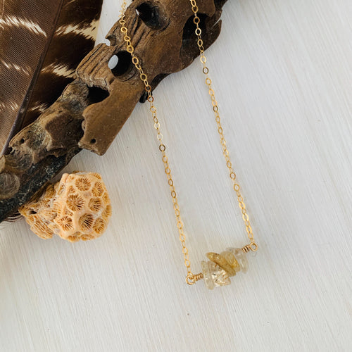Rutilated Quartz Mermaid Tears Gold Bar Necklace