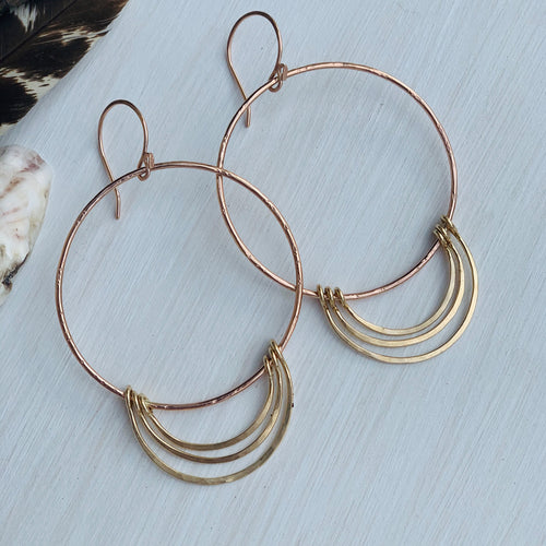 Rose Gold Halo Charm Hoops