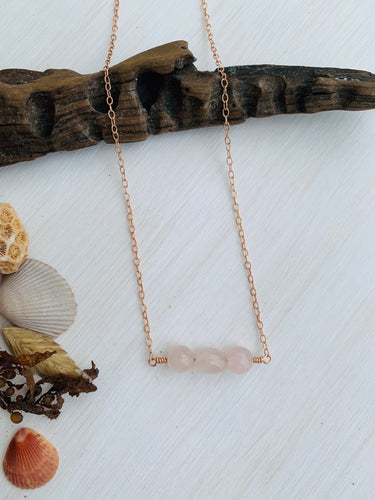 Rose Quartz Mermaid Tears Bar Necklace