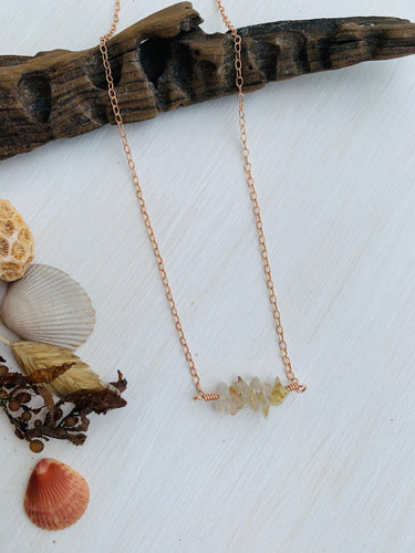 Rutilated Quartz Mermaid Tears Bar Necklace