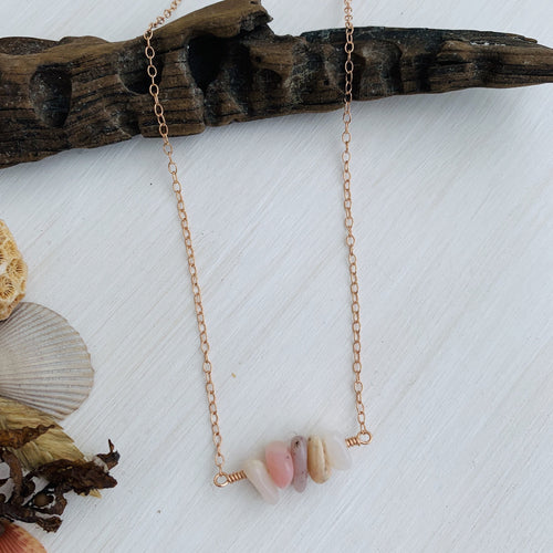 Pink Opal Mermaid Tears Bar Necklace