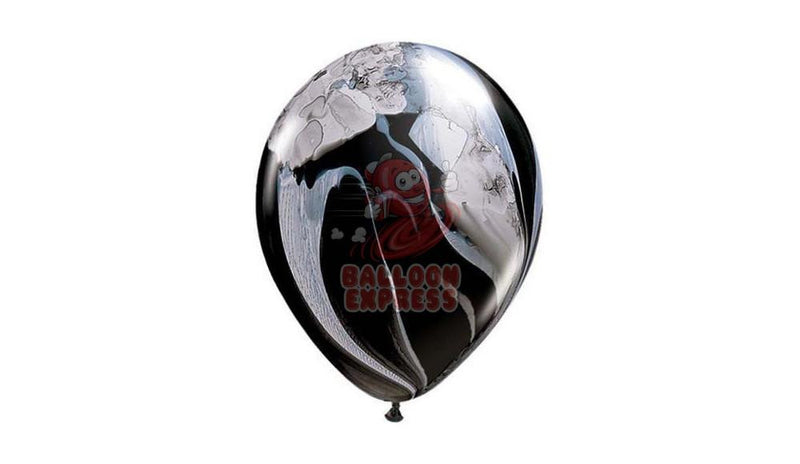 "11"" Black & White Agate - HELIUM INFLATED - Balloon Express"