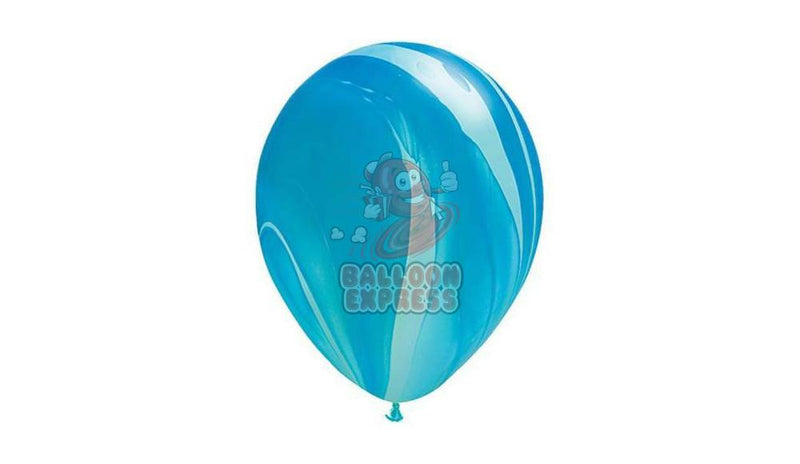 "11"" Blue Agate  -Helium Inflated - Balloon Express"