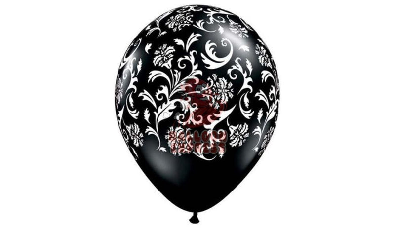 Printed Damask - Black with White Print - Helium Inflated - Balloon Express