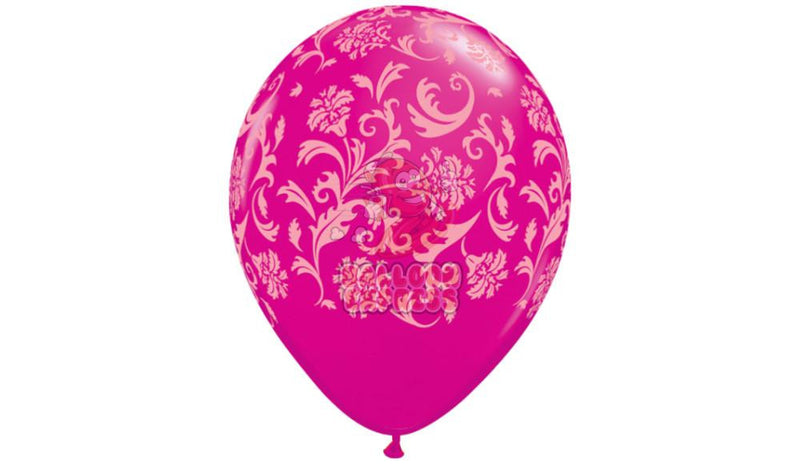 Damask - Hot Pink with Pink Print - Helium Inflated - Balloon Express