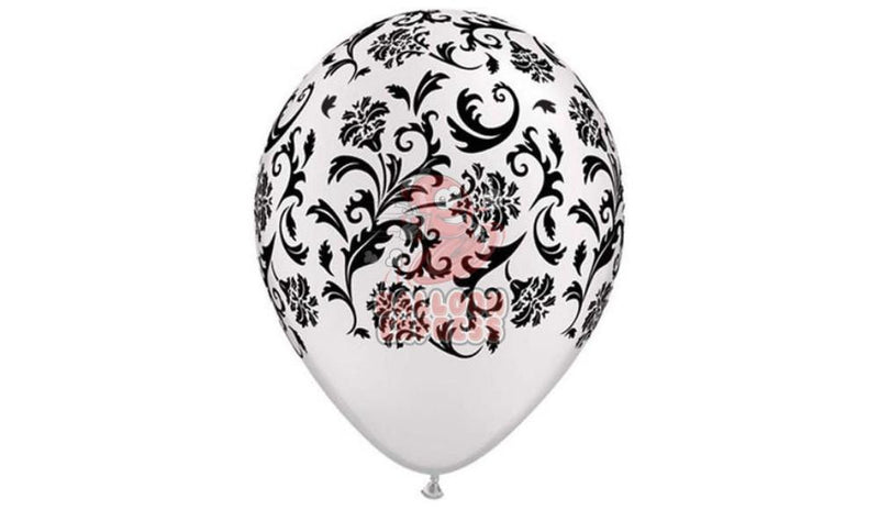 Damask - White with Black Print - Helium Inflated - Balloon Express