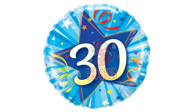 30 Bright Shining Blue Star, inflated - Balloon Express
