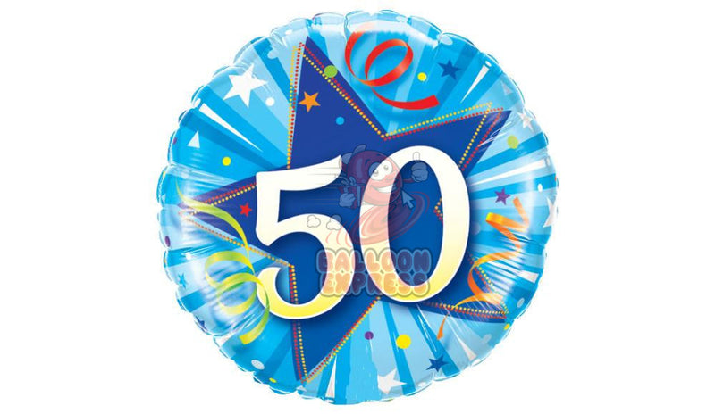50 Bright Shining Blue Star, inflated - Balloon Express