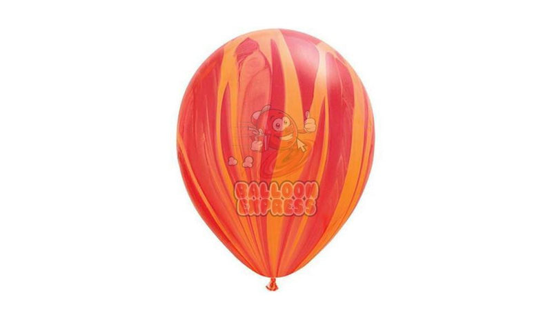 "11"" Red / Orange Agate-Helium Inflated - Balloon Express"