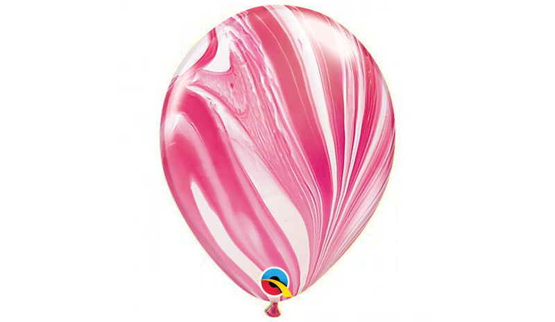 "11"" Red and White Agate -Helium Inflated - Balloon Express"