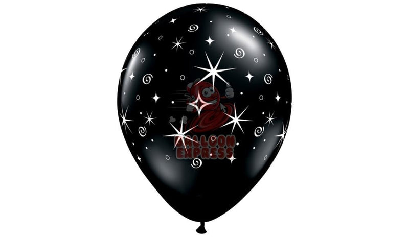 Black with White Stars Printed  - Helium Inflated - Balloon Express