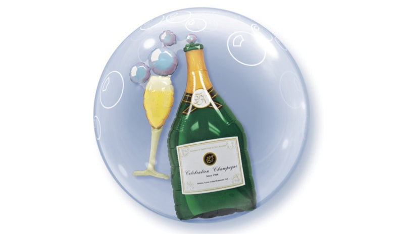 "BUBBLES: 24"" Champagne Bottle in Bubble - Balloon Express"