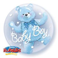 "Double Bubble 24"" Baby Blue Bear bubble - Balloon Express"