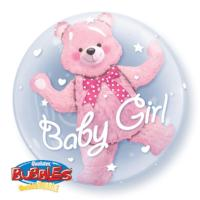 "Double Bubble 24"" Baby Pink Bear - Balloon Express"