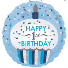 "18"" Happy First Birthday cupcake blue - Balloon Express"