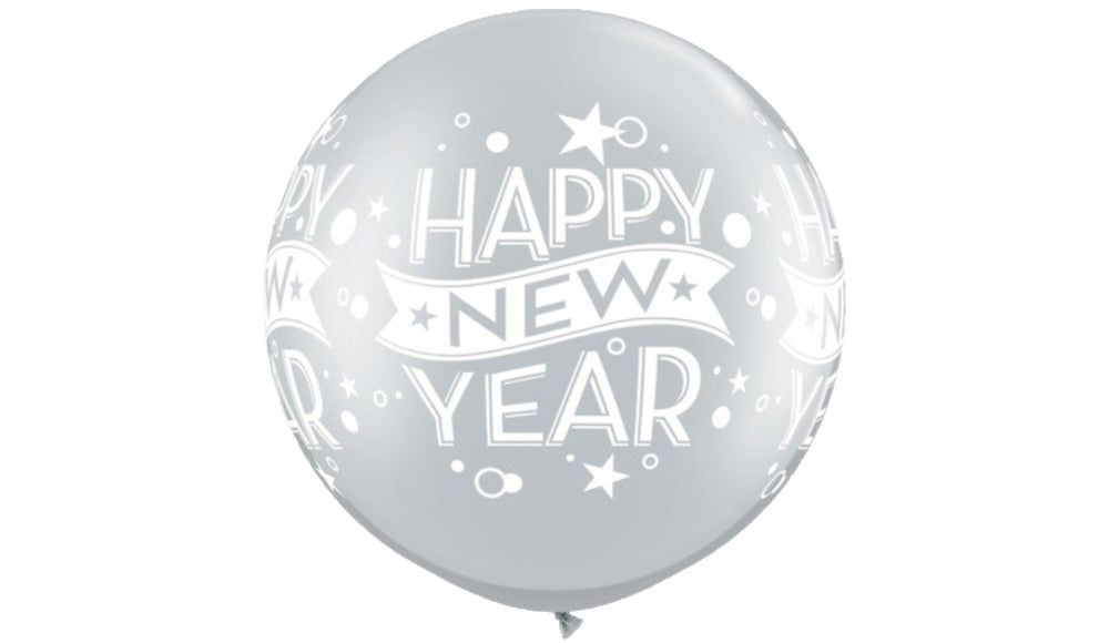 Jumbo Happy New Year Silver - Balloon Express