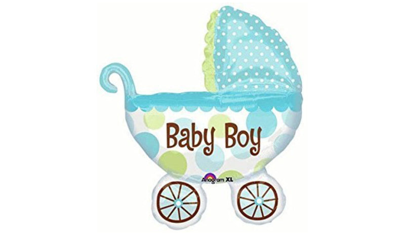 S/S NON LICENSED MYLARS: Baby Boy Carriage - Balloon Express