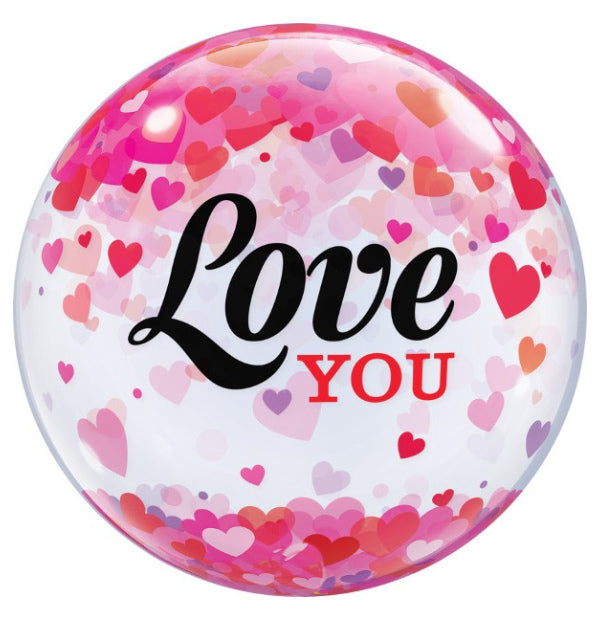 "22"" Bubble Love you Confetti Hearts - Balloon Express"