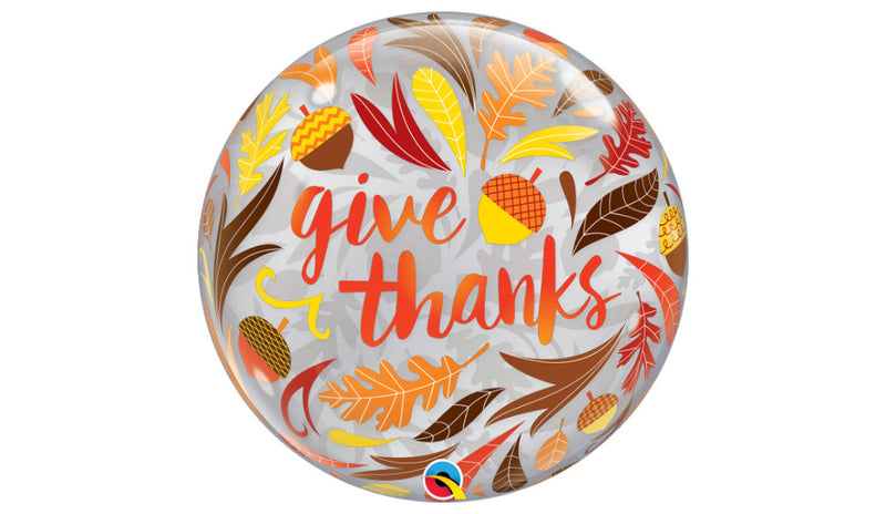 "Give Thanks Acorn and Leaves 22"" Bubble - Balloon Express"