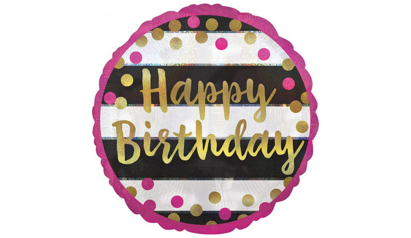 Standard Holographic Pink & Gold Milestone Happy Birthday - Balloon Express