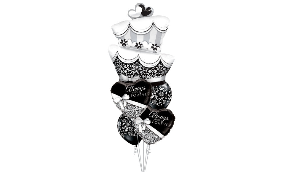 Black and White Wedding Cake Bouquet - Balloon Express