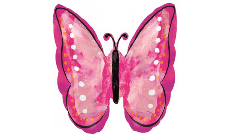 S/S NON LICENSED MYLARS: Butterfly painted pink - Balloon Express
