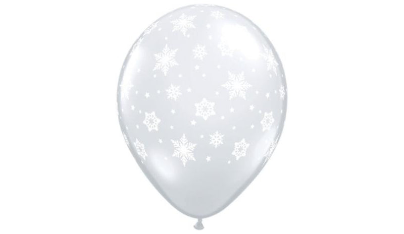 "11"" Snowflake Clear - Helium Inflated - Balloon Express"