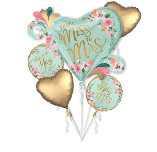 "Bridal Shower Foil Bouquet ""From Miss To Mrs"" - Balloon Express"