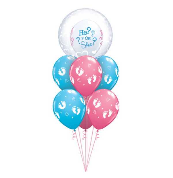"Gender Reveal Bubble Bouquet ""What Will You Be? He or She?"" - Balloon Express"