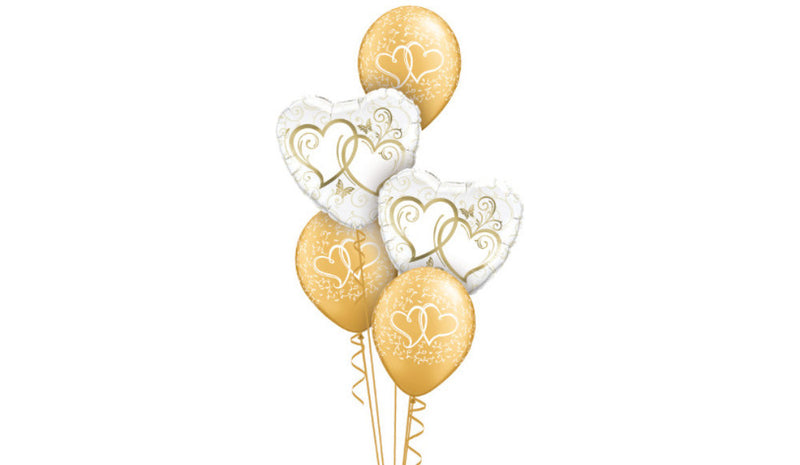 Gold Hearts Intertwined - Balloon Express