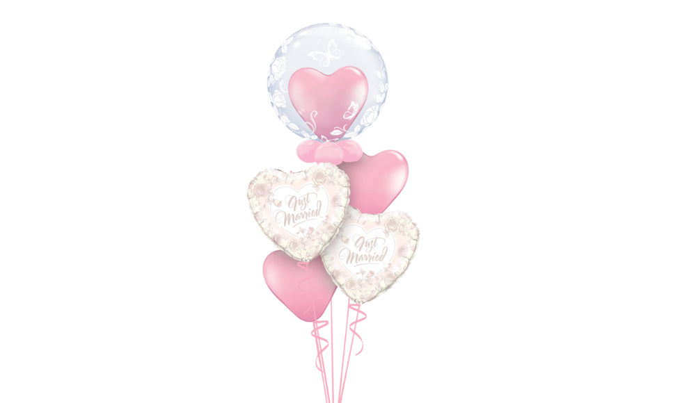 Just Married Hearts Bouquet - Balloon Express