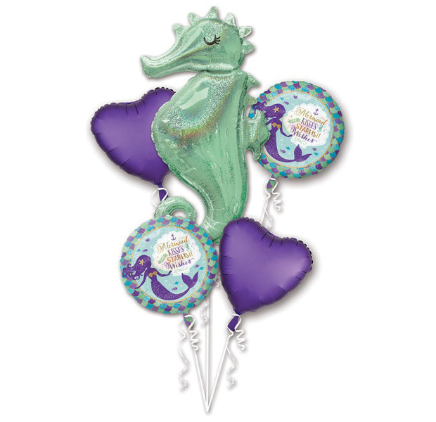 Mermaid Wishes Seahorse Foil Bouquet - Balloon Express