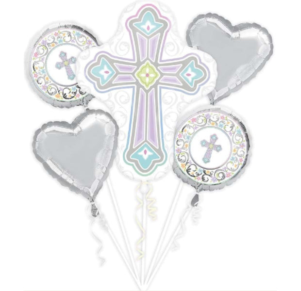 Blessed Day Cross Foil Bouquet - Balloon Express