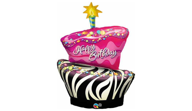 Birthday Funky Zebra Stripe Cake Inflated - Balloon Express