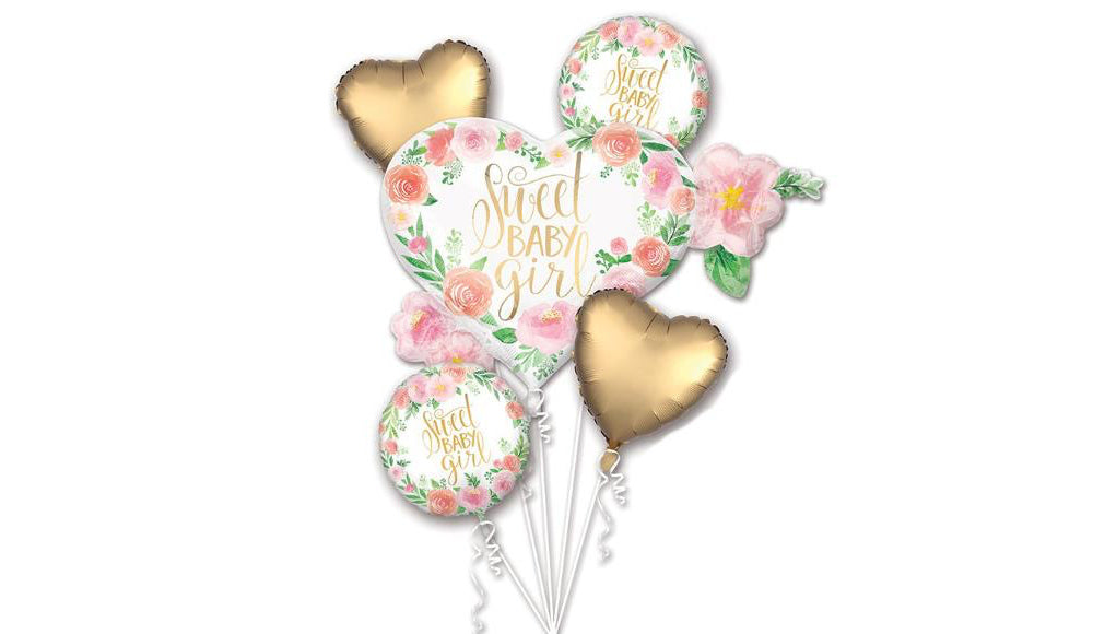 Baby Girl Floral Foil Bouquet - Balloon Express