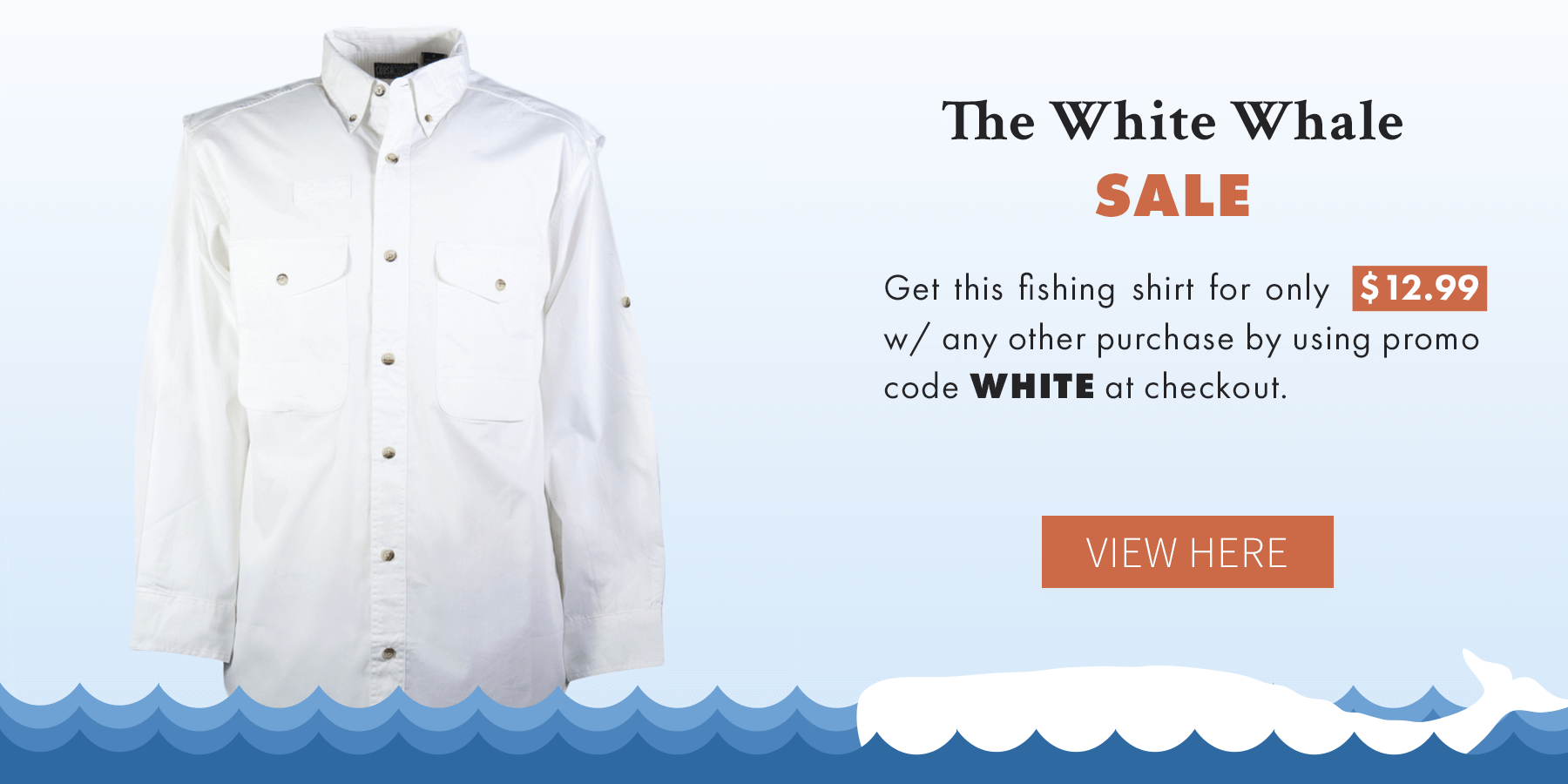 White Whale Fishing Shirt Sale