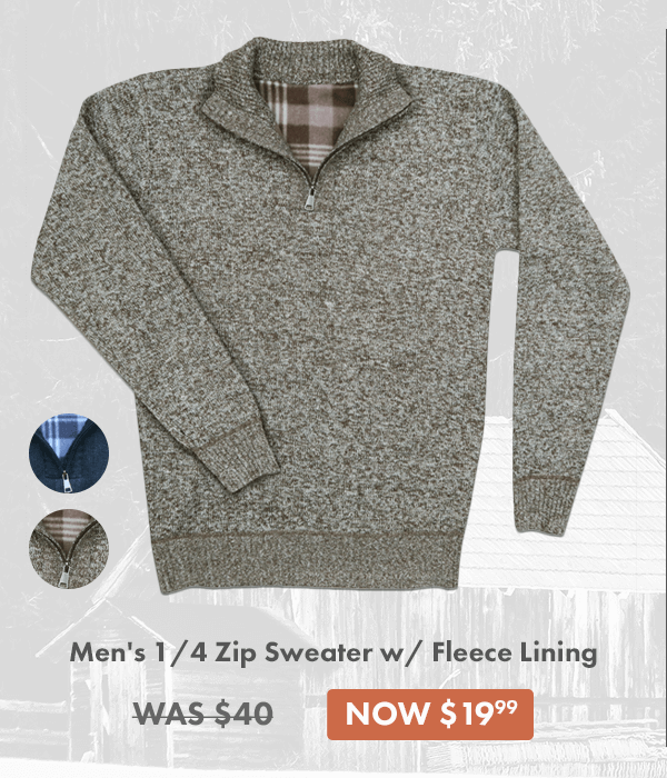 1/4 Zip Sweater w/ Fleece Lining