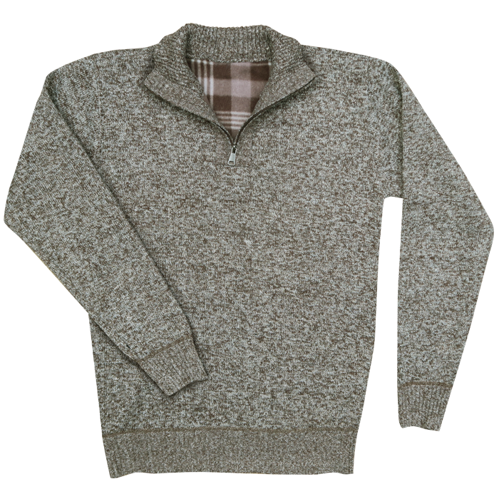 Men's 1/4 sweater with fleece lining