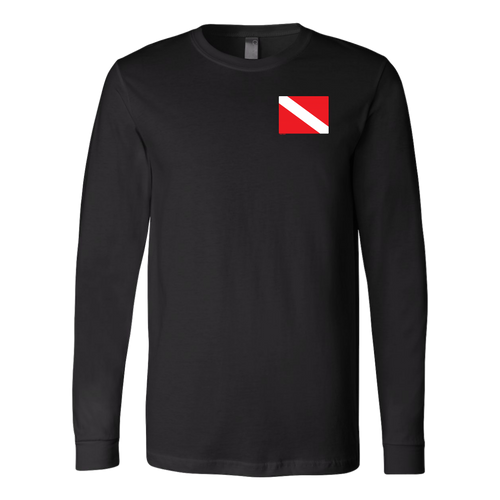 Diver Flag On Chest Unisex Long Sleeve Shirt T-Shirt - KOBU.US