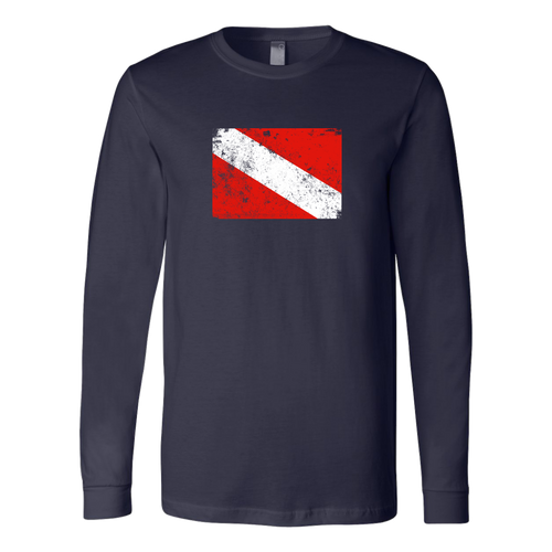 Worn Diver Down Flag Long Sleeve Unisex Shirt - KOBU.US